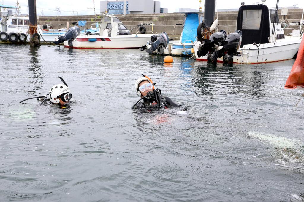 水中清掃活動を行うダイバーの様子