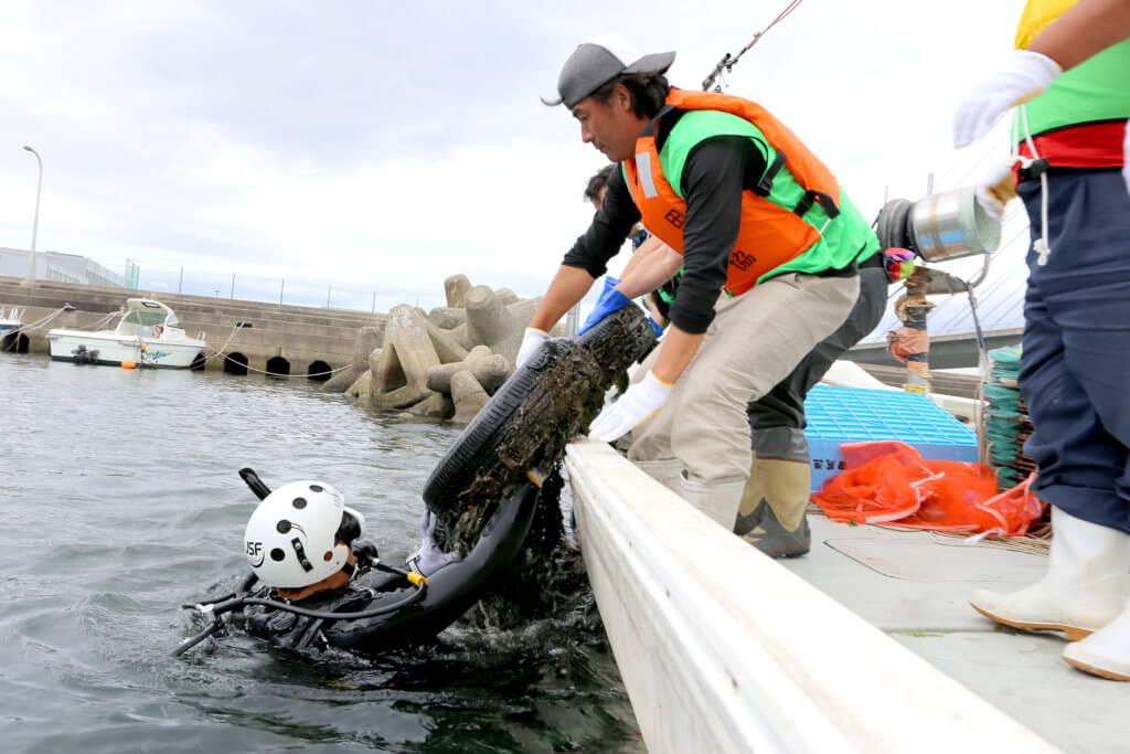 ダイバーから水中のゴミを受け取る清掃スタッフ