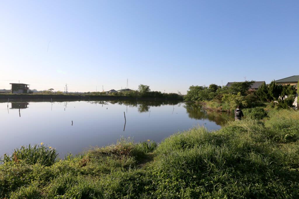 五三川で釣りをする風景