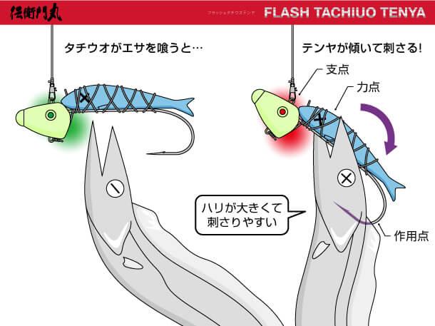 「伝衛門丸 FLASH TACHIUO TENYA(タチウオテンヤ)」の形状