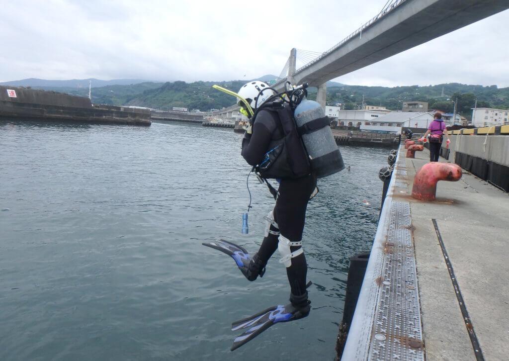 水中に飛び込むダイバーの様子。今回の水中清掃には18名のダイバーが参加した