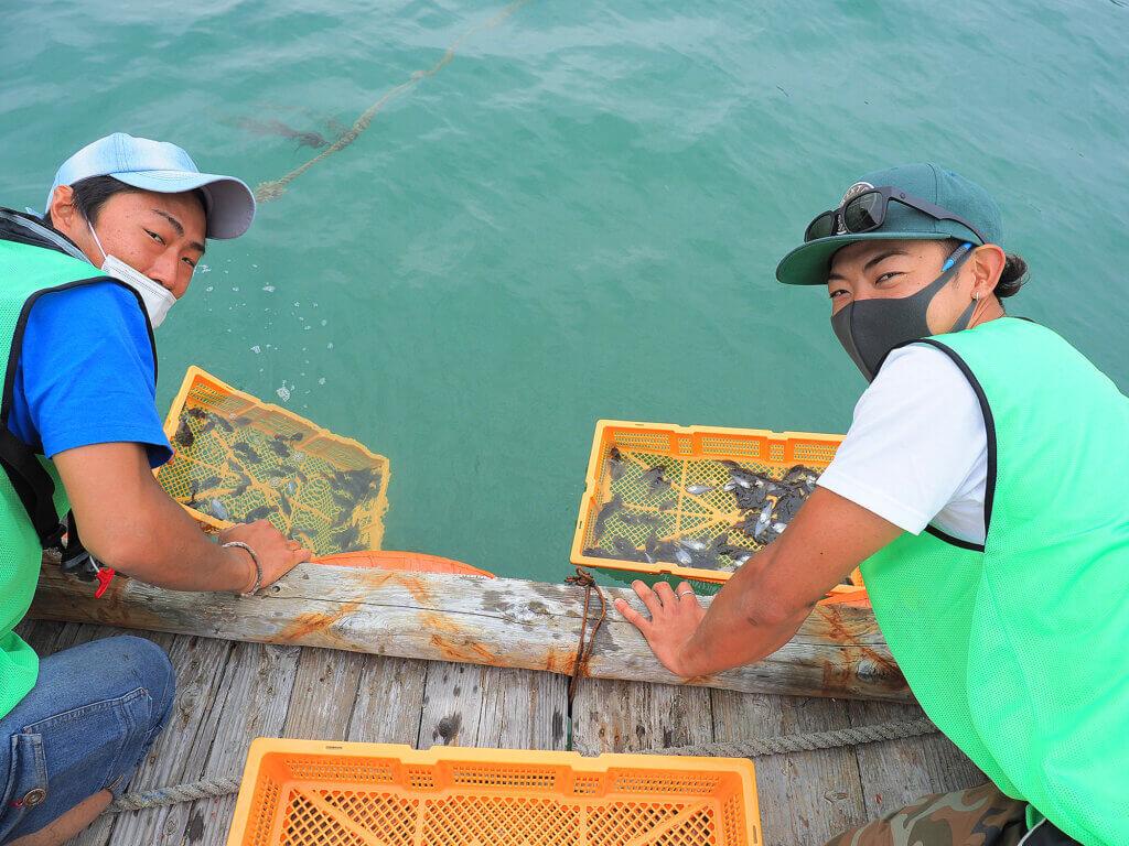 日本釣振興会和歌山県支部が行ったヒラメ稚魚放流の様子