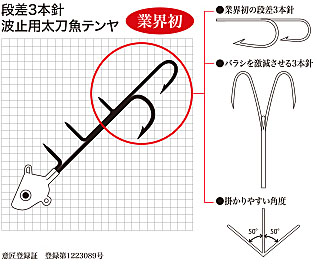かわせみ針波止用太刀魚テンヤ 段差3本針仕掛け図