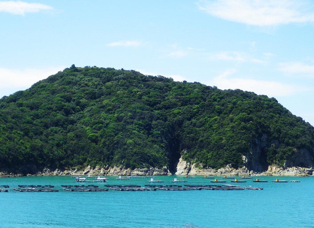 黒島や十九島の島陰にある釣り用の筏