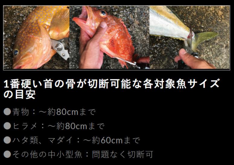 HDフィッシュシザー20cm LE125首の骨が切断可能な対象魚サイズの目安